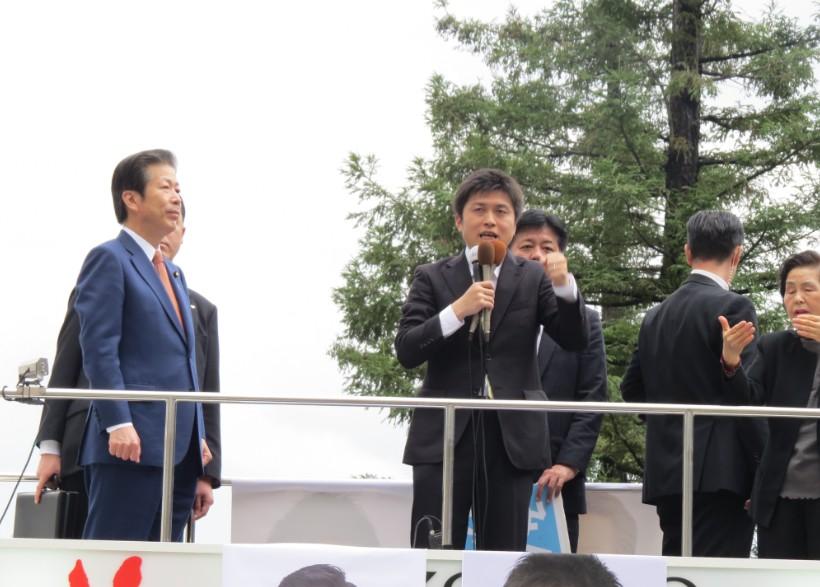 JR尼崎で街頭演説
