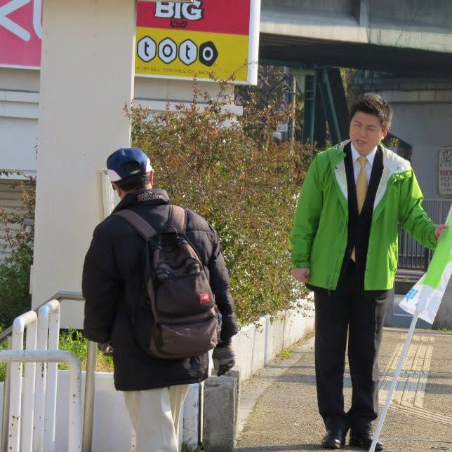 阪神大物駅で駅頭挨拶