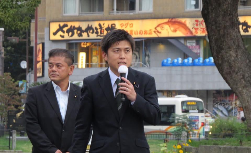 尼崎市内で街頭演説