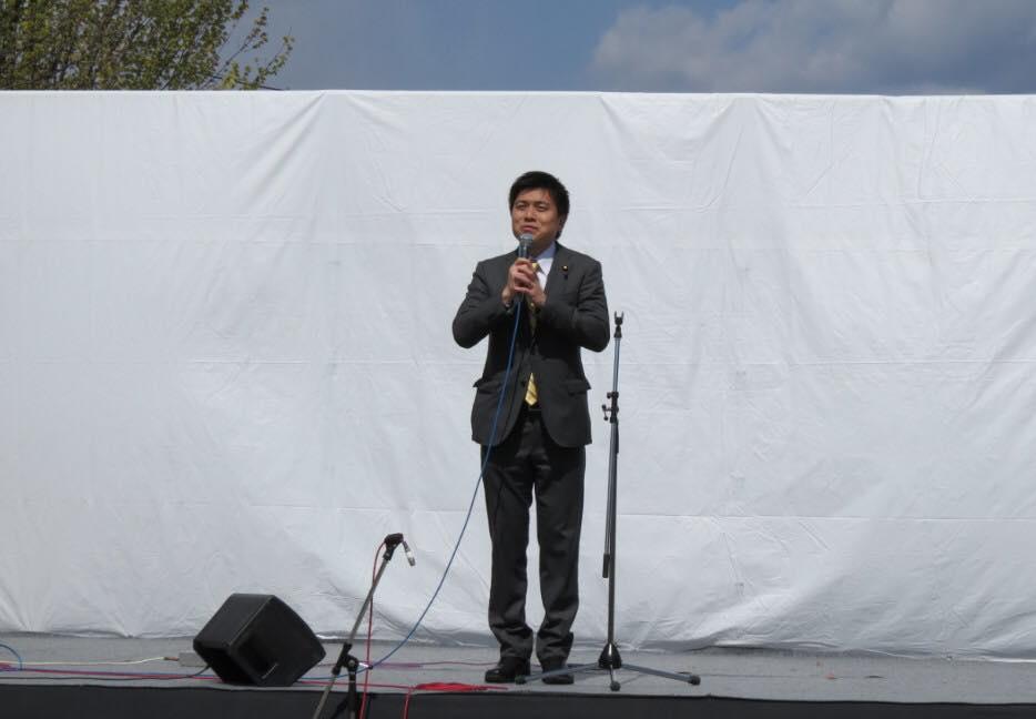 西武庫公園のさくら祭りでご挨拶