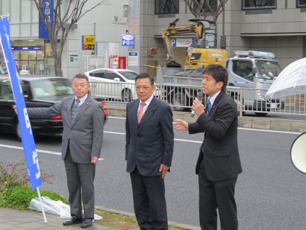 しの木和良県会議員と街頭演説