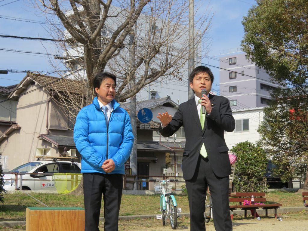 西淀川区で街頭演説