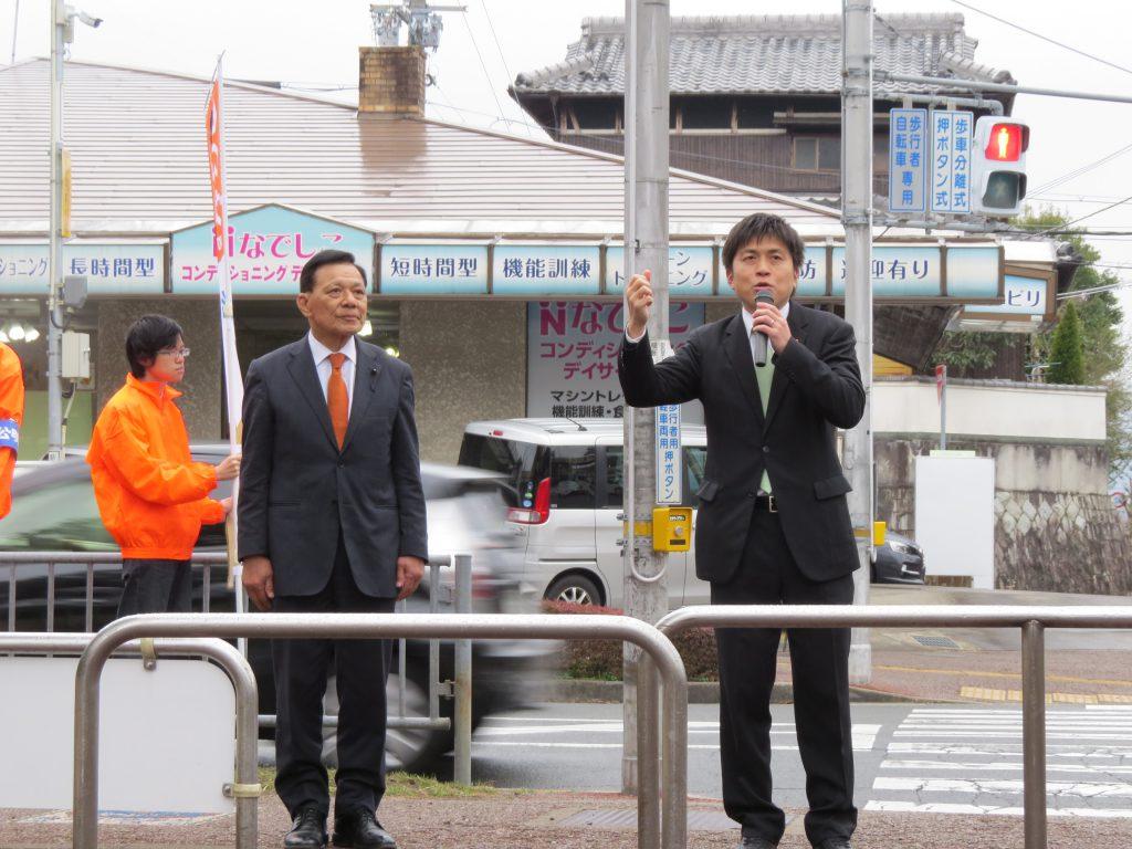 猪名川町で街頭演説