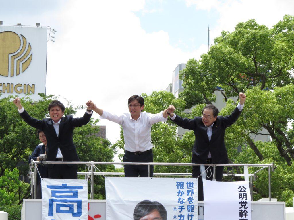 阪神尼崎駅前で高橋みつおと街頭演説