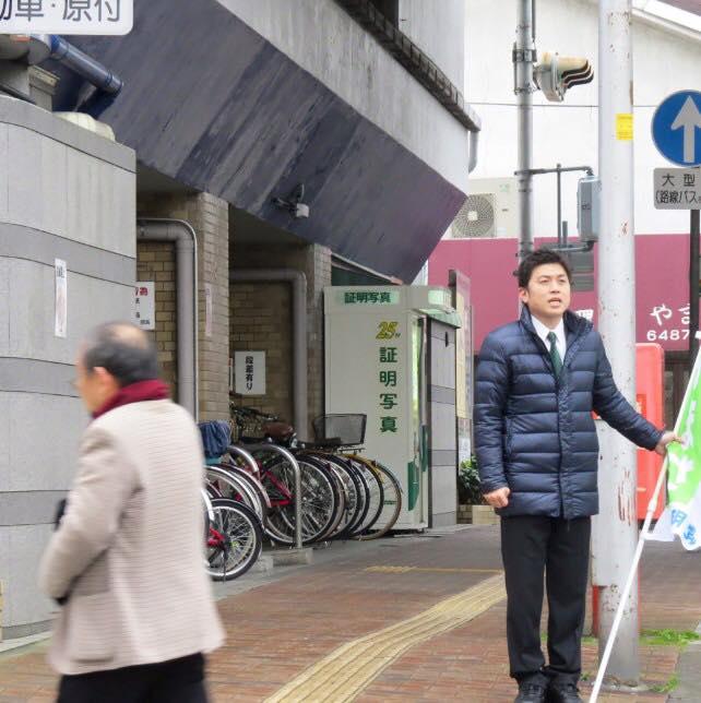 阪神杭瀬駅前で駅頭挨拶