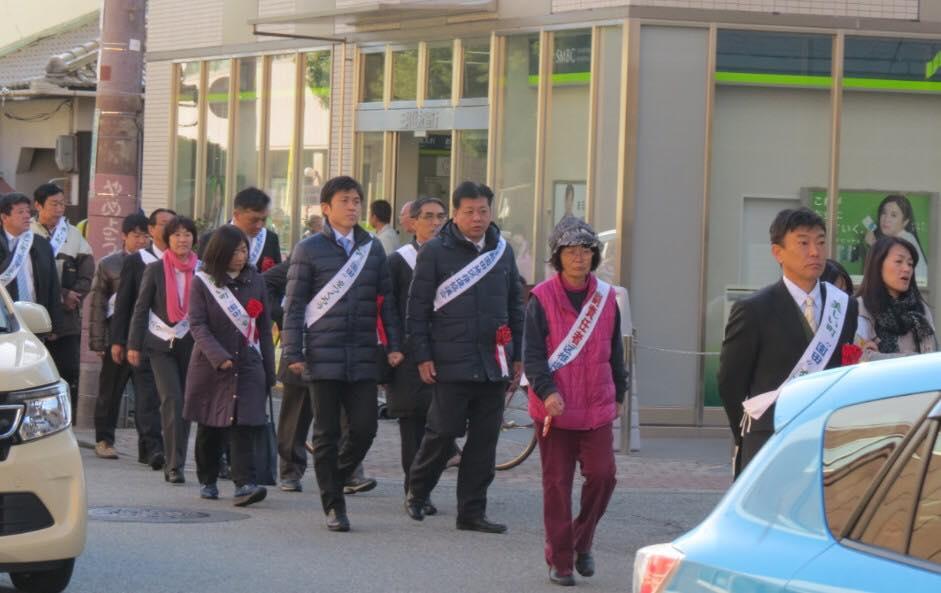 園田地区の啓発パレードに参加