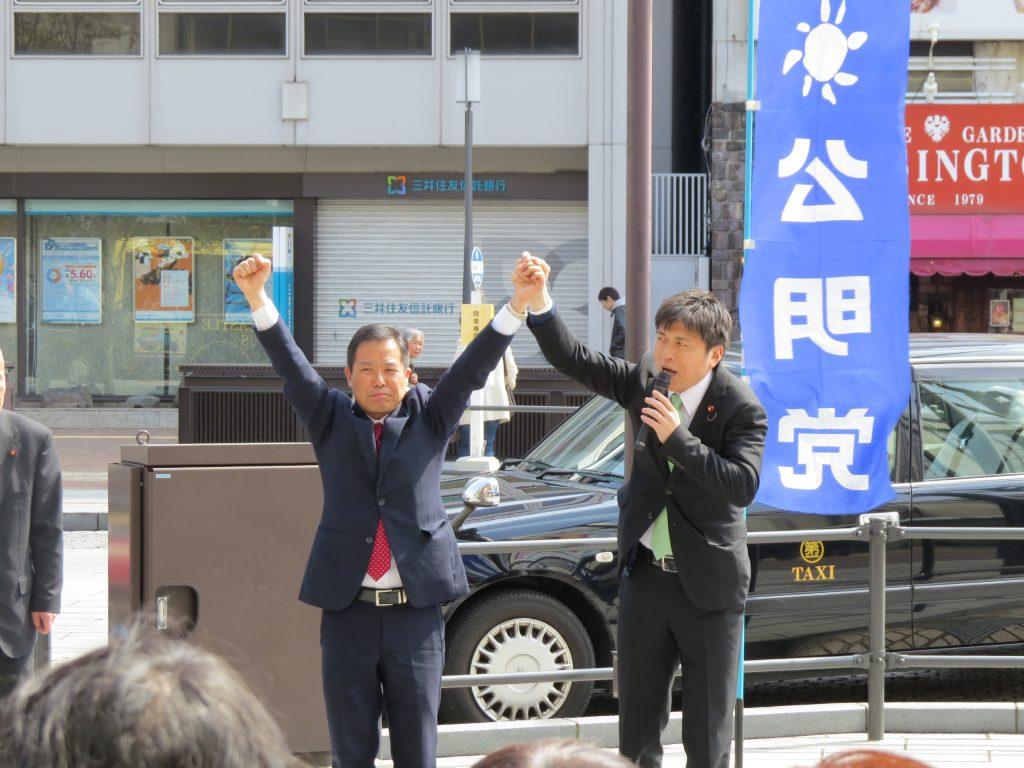 姫路市で街頭演説、伊丹市で県政報告会に参加