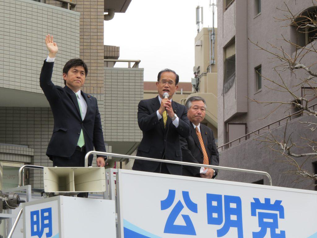 つぼいけんじ 県会議員と街頭演説
