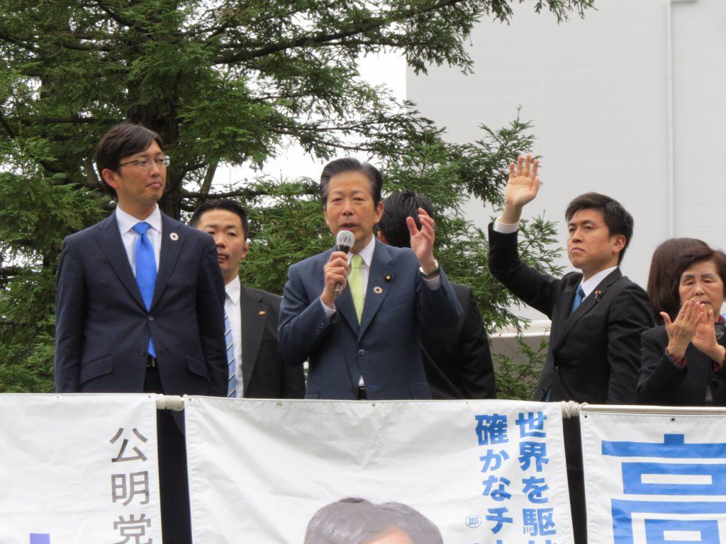 山口代表・高橋みつおさんと街頭演説