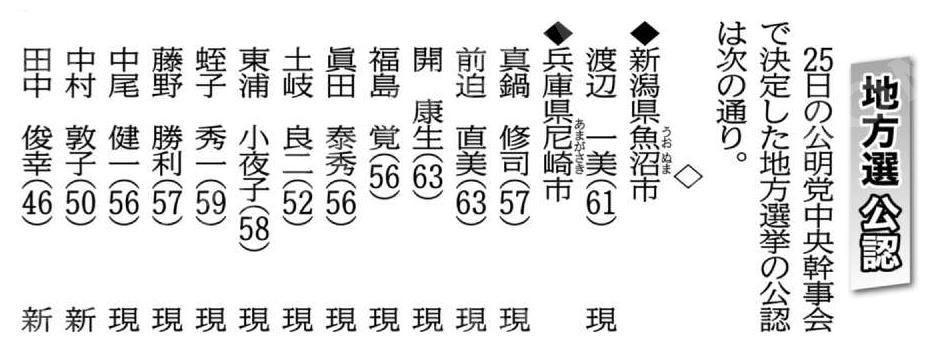 尼崎市議選の公認