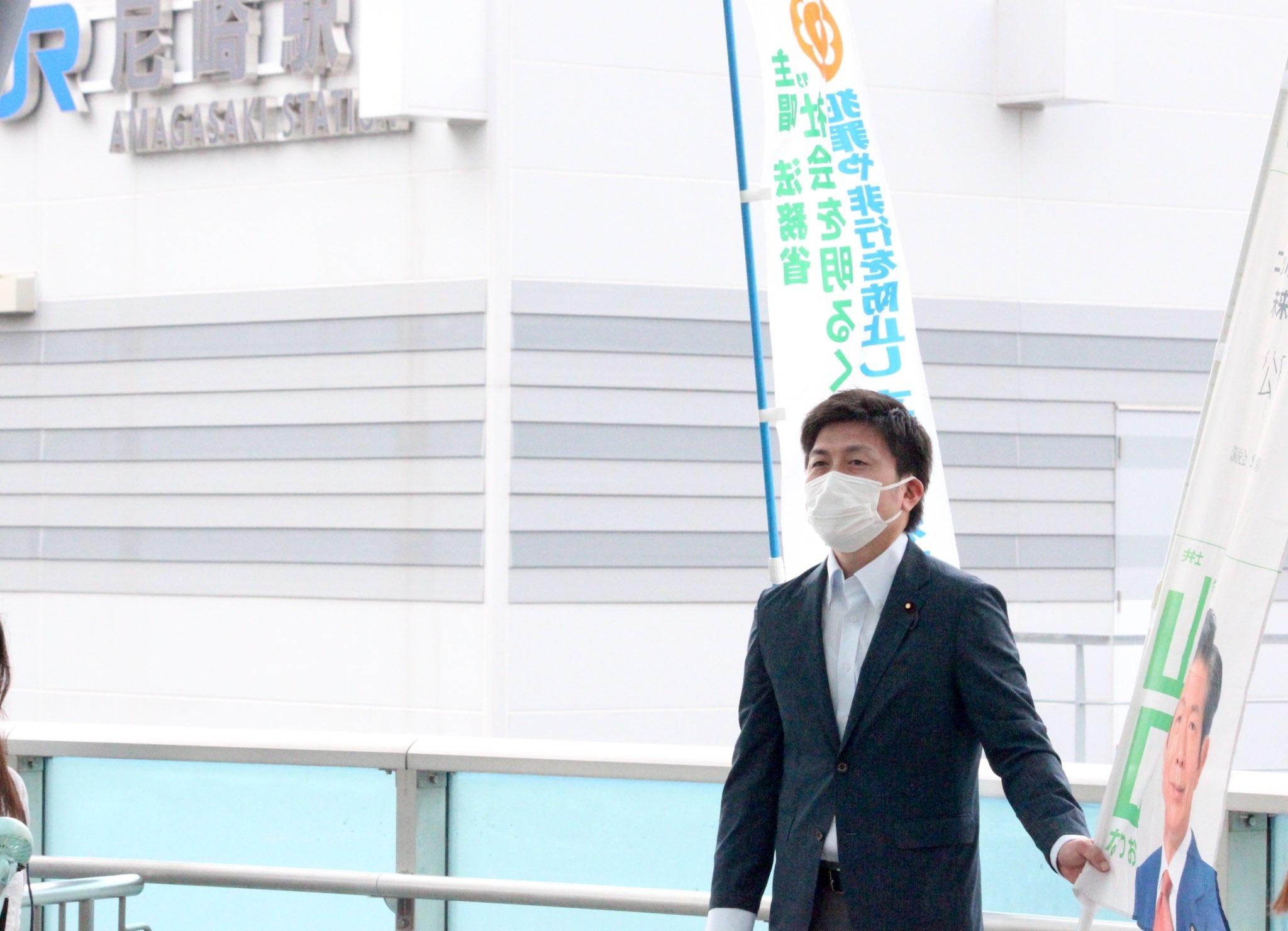 JR尼崎駅で駅頭挨拶